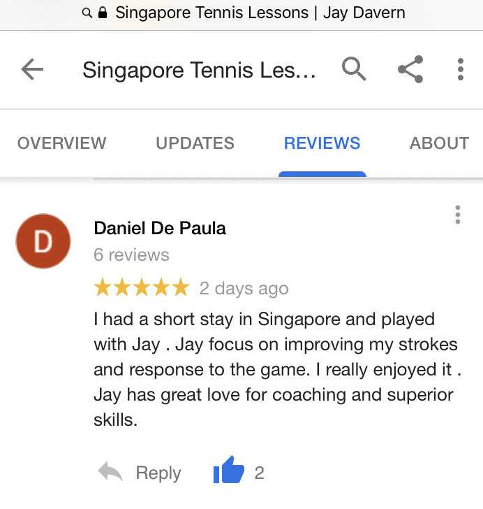 Singapore Tennis Coach Reviewed By Daniel Singapore Tennis Lessons